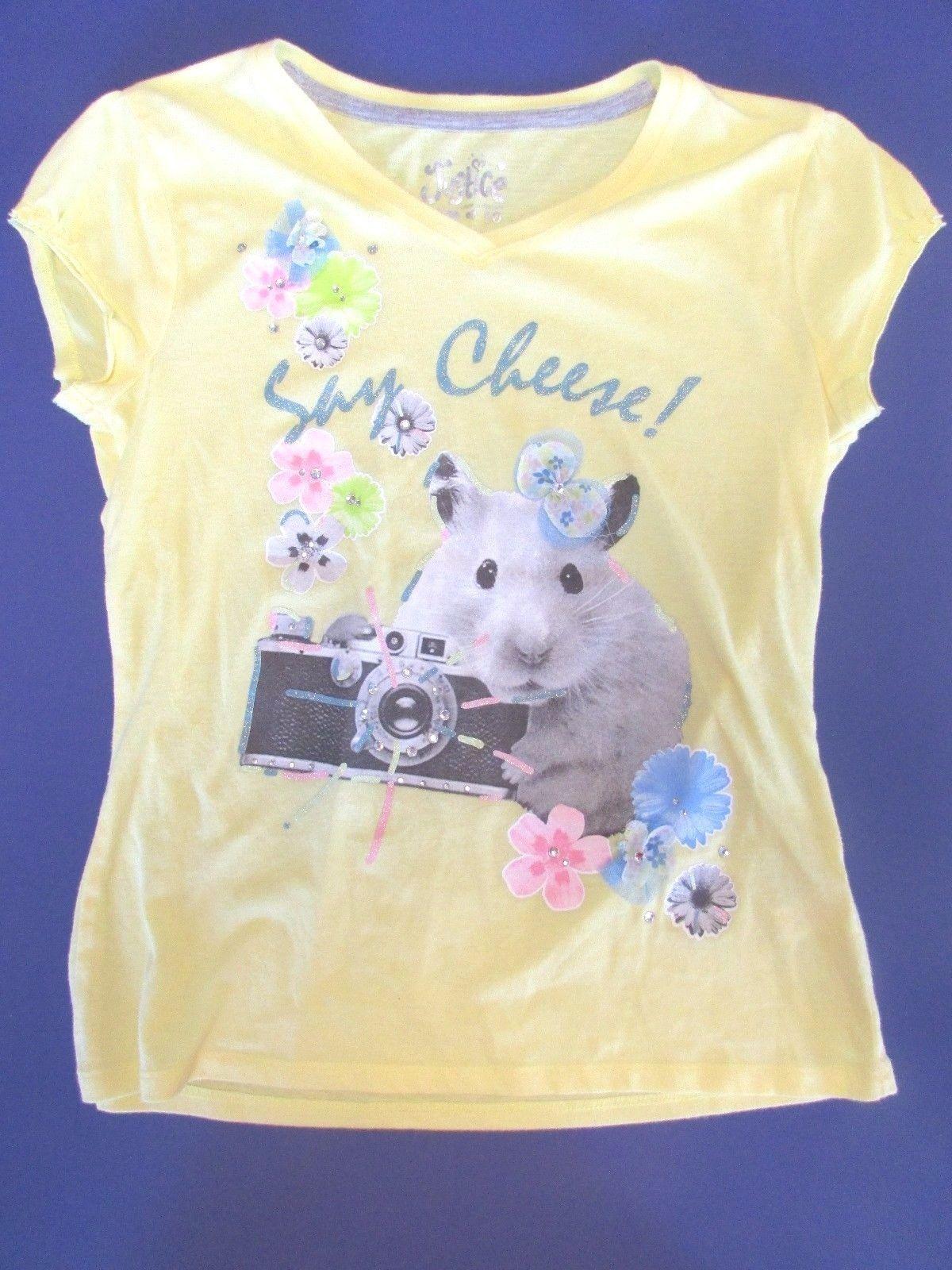 Justice Girls Yellow Say Cheese Hamster Camera Short Sleeve Top Shirt 10 Ebay Short Sleeves Tops Top Shirt Tops
