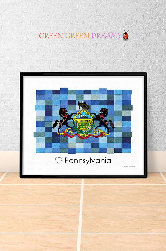 Pennsylvania Flag Print Poster Wall art Pennsylvania US State flags PA printable download Home Decor Digital Print gift GreenGreenDreams