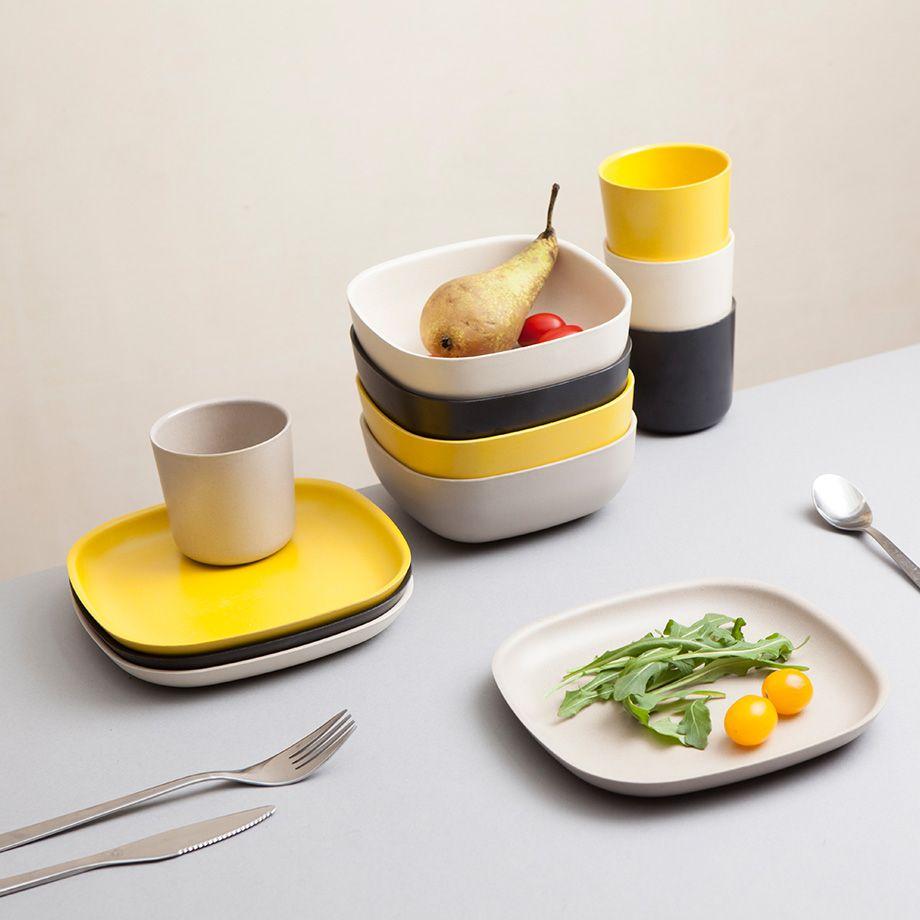 coordinated bamboo tableware by biobu by ekobo monoqi tablesetting pinterest geschirr. Black Bedroom Furniture Sets. Home Design Ideas