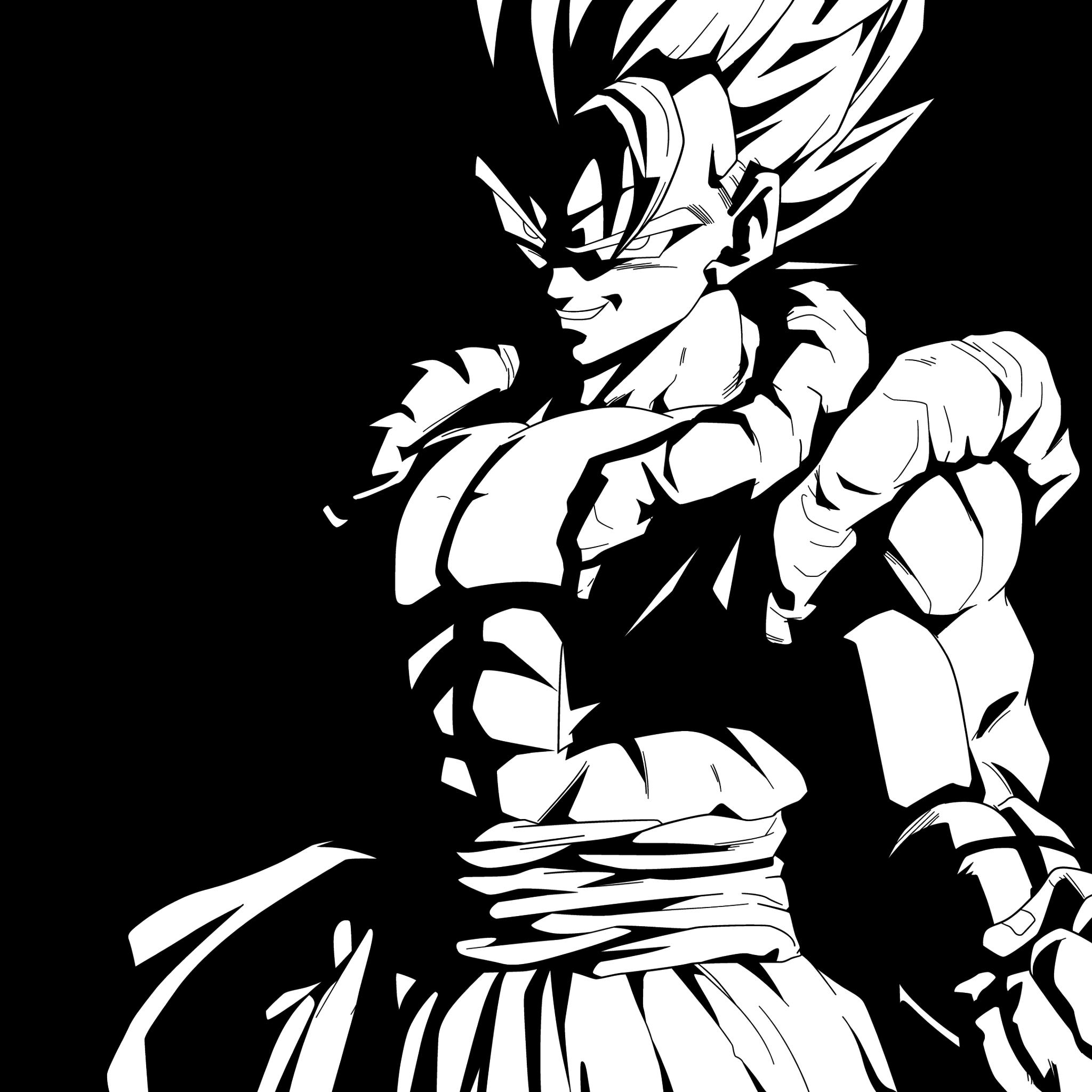 2048x2048 Télécharger Le Goku Noir Et Blanc 2048 X 2048