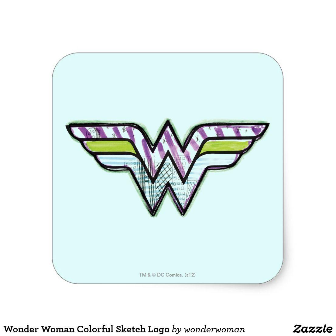 Wonder Woman Colorful Sketch Logo Square Sticker Zazzle Com Custom Stickers Create Custom Stickers Wonder Woman [ 1106 x 1106 Pixel ]