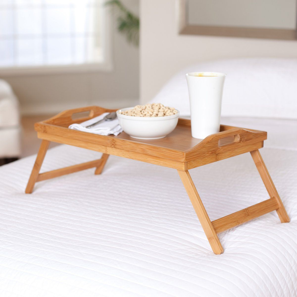 Bamboo Serving Tv Tray With Folding Legs Breakfast Bed Trays