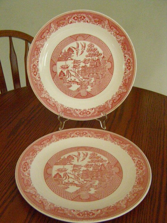 Vintage Set of 2 Red Willow Ware 12 Round Serving by parkie2 $21.50 & Vintage Set of 2 Red Willow Ware 12