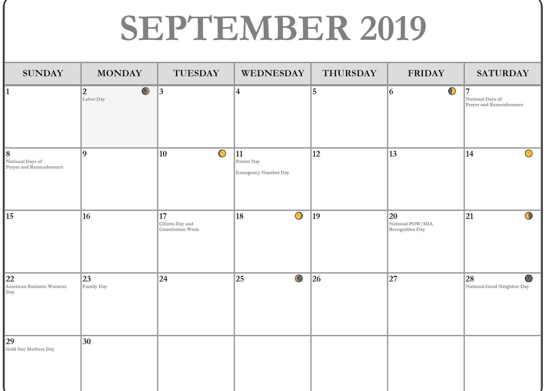 Moon Phases Calendar For September
