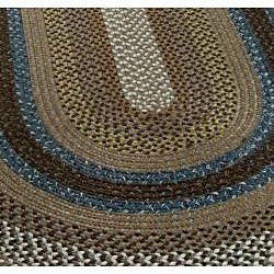 Hand Woven Reversible Brown Braided Rug X Oval