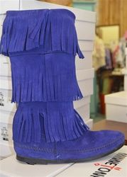 Minnetonka Three Layer Fringe Boot in Blue Violet. Great with ...