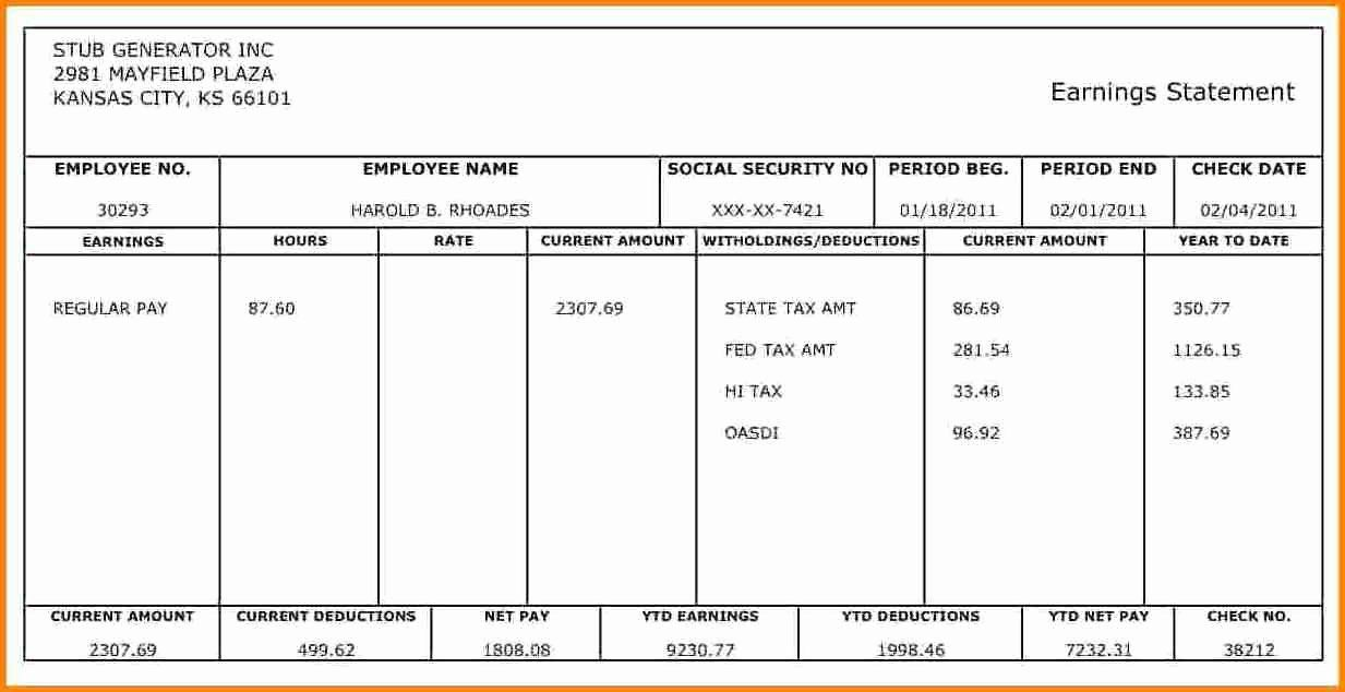 1099 Pay Stub Template Excel Awesome 10 Pay Stub Template For 1099 Employee Payroll Checks Statement Template Payroll Template