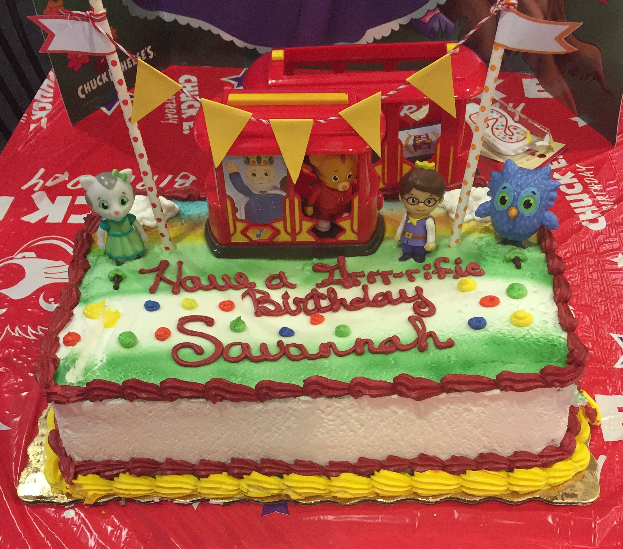 Daniel Tiger Birthday Cake Publix Did What We Asked For The Actual Decorating Added Trolley Figurines And Banner