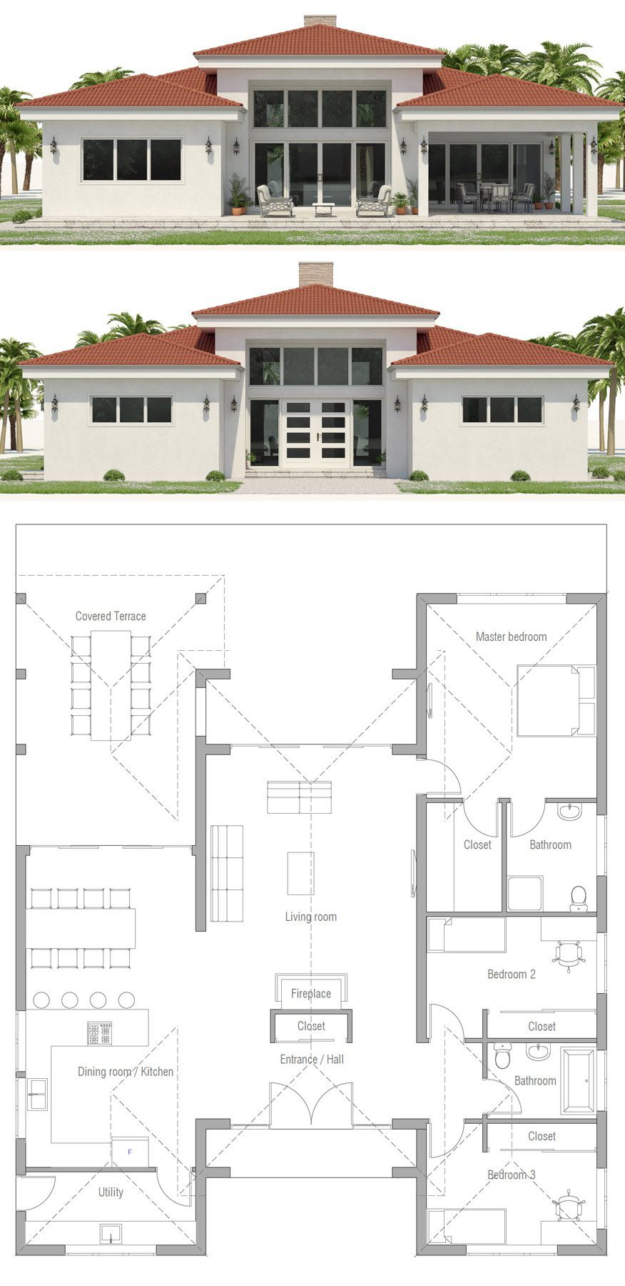 Single Story Home Plan Homeplans Architecture Housedesign Interiordesign House Construction Plan My House Plans Beach House Plans