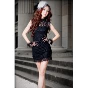 $9.49 Fashion Turtleneck Cap Sleeves Black Lace Sheath Mini Dress