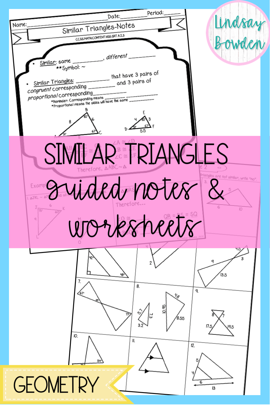 Similar Triangles Notes and Worksheets   Similar triangles [ 1350 x 900 Pixel ]