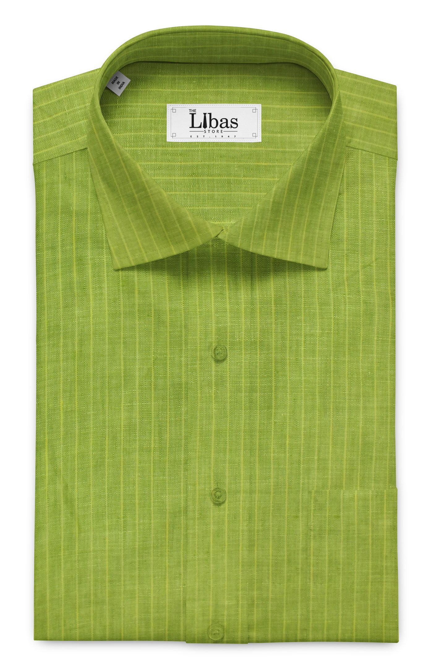 Nemesis Grass Green 100 Pure Linen 60 Lea Striped Shirt Fabric 1 60 M Striped Shirt Pure Linen Shirts