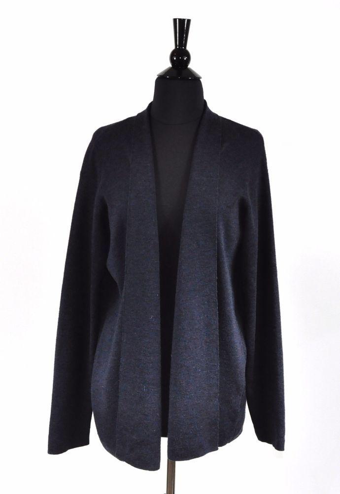 800a7abc25e1 Eileen Fisher Navy Blue Merino Wool Women's Open Cardigan Sweater Size  Large #EileenFisher #Cardigan #Casual