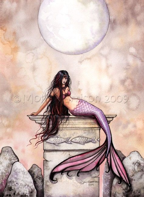 Mermaid Fairy Fine Art Print 'Sea Princess' by MollyHarrisonArt, $18.00
