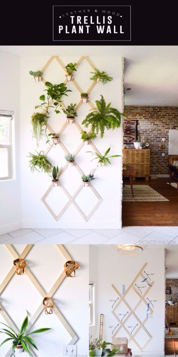 Photo of DIY Home Decor Ideen, die Ihr Zimmer erhellen DIY Holz und Leder Spalier Pflanze …