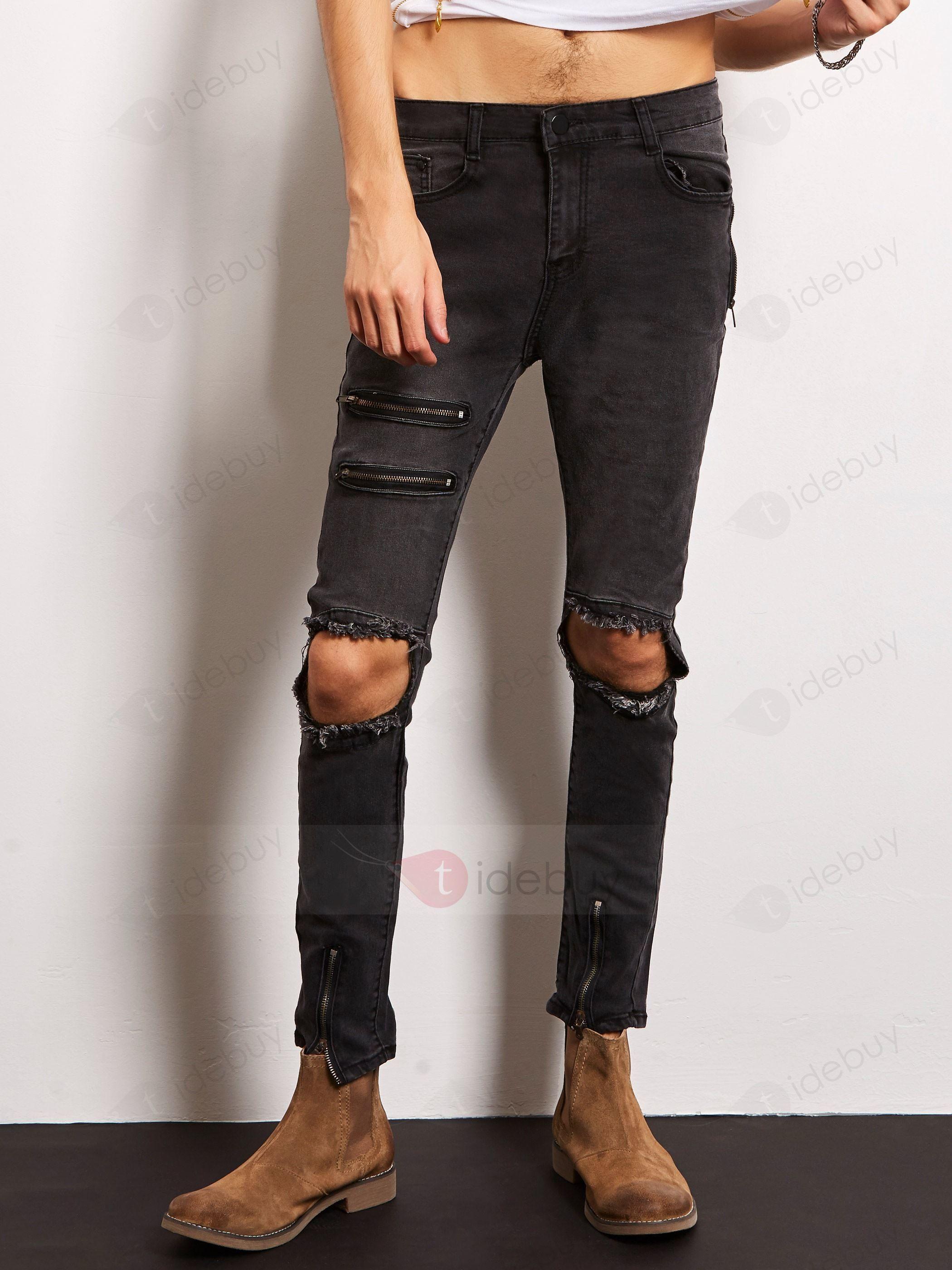 Lang Jeans Knie Flicken Herren 20 € OFF für Kleider & Herren Mode