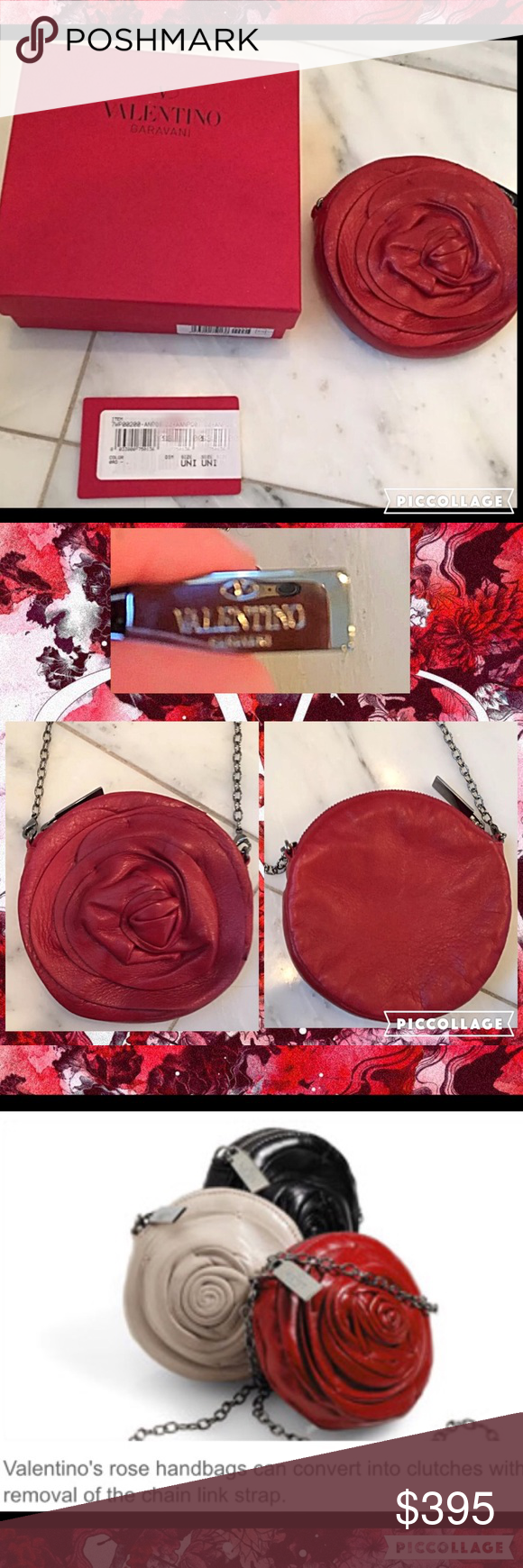 NWB! Auth VALENTINO Rosette Mini Chain Bag!! This is a Gorgeous Authentic Valentino Garavani red leather rosette mini with detachable chain. You can wear as a shoulder, cross-body or remove the chain for a mini clutch! This beautiful bag has soft, supple leather construction and silver-tone metal hardware. Round shape design with beautiful hand stitched layers. Comes with tags and original box! Perfect addition for your designer bag collection! Great for Christmas! Valentino Bags Crossbody…