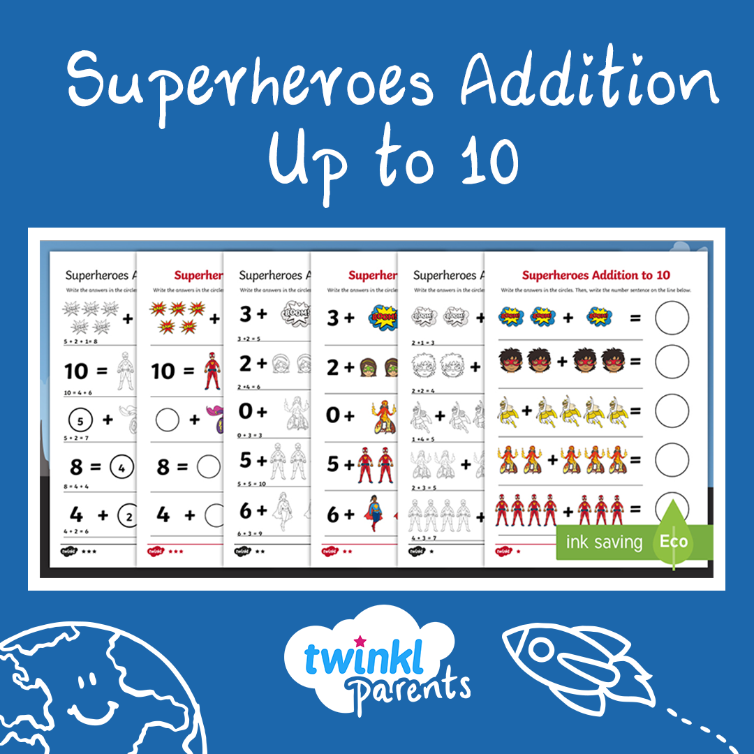 These Superheroes Themed Addition Worksheets Are A