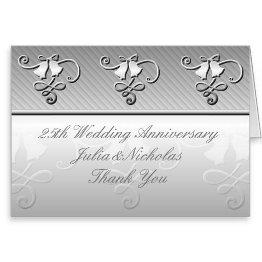 25th Wedding Anniversary Silver Card | Blank Note Card - Customize With Your Text.