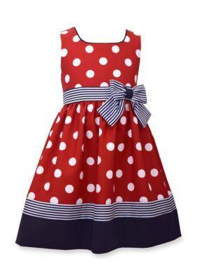 Bonnie Jean Red Sleeveless Ribbon and Bow Dot Dress Girls 4-6x