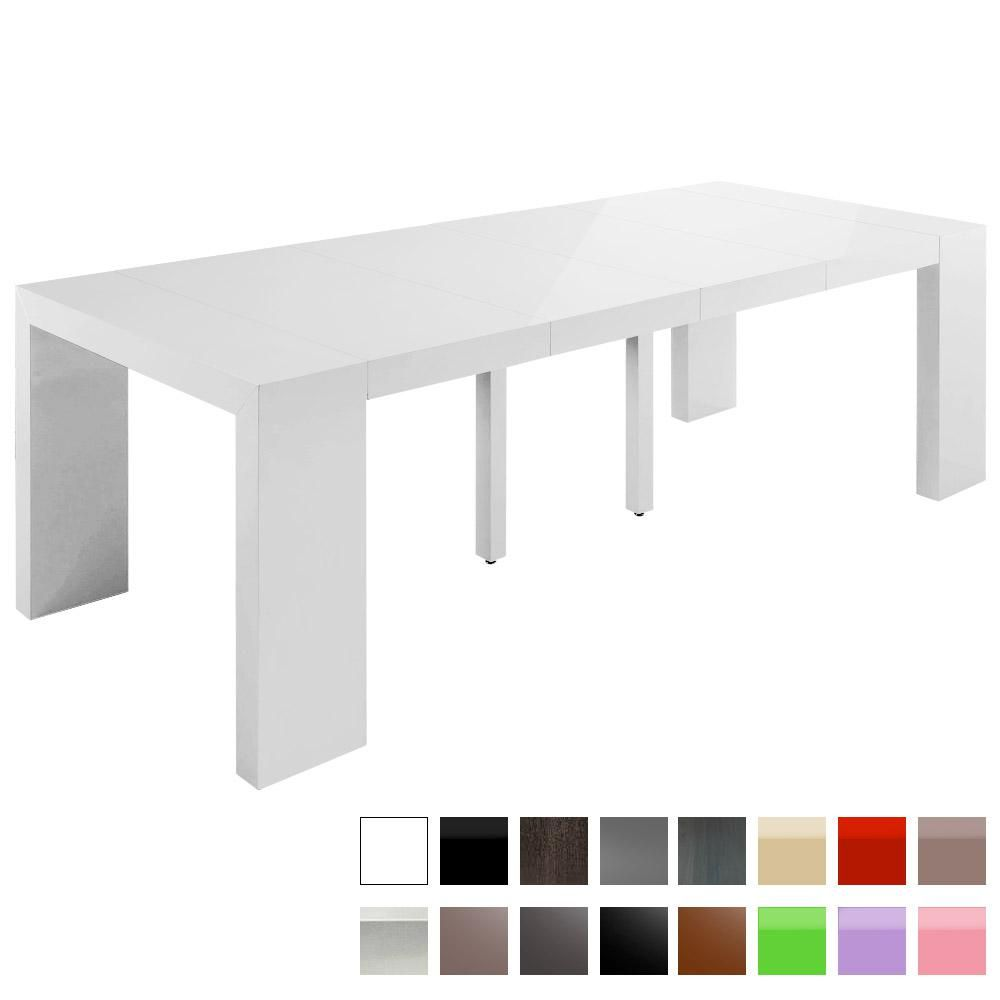 Table console extensible nassau xl blanc laqu e 713 550 for Table blanc laquee carree extensible