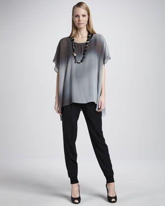 Watercolor Sheer Tunic, Silk Jersey Tank, Cuffed Silk Georgette Ankle Pants, Women\'s by Eileen Fisher at Neiman Marcus.