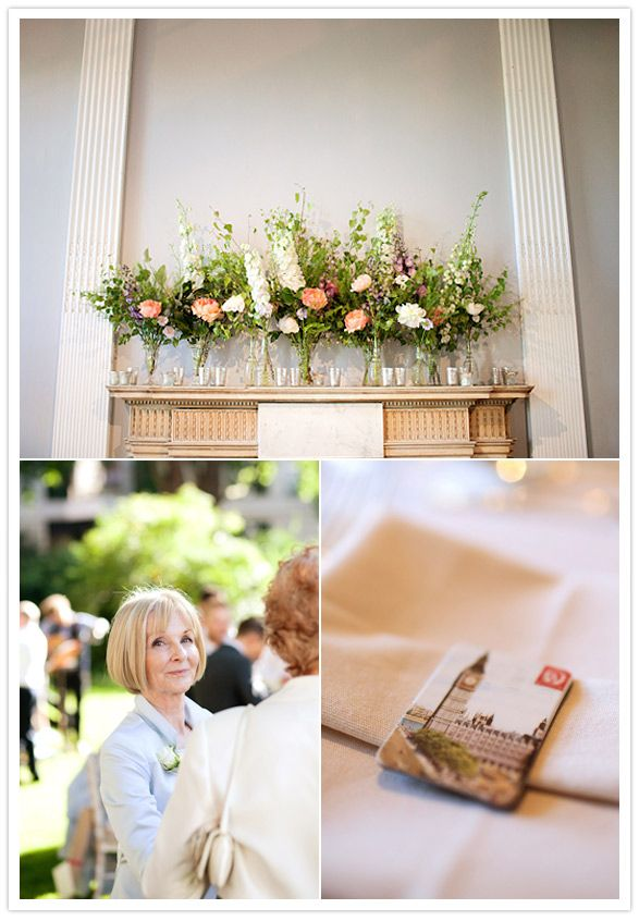 Anika and Matt - The fireplace at the ICA with stunning floral arrangements