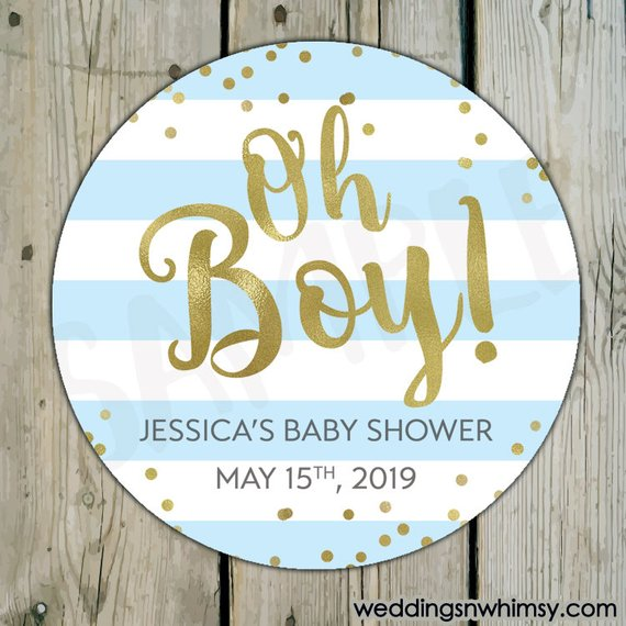 48 personalised baby shower stickers labels favours BOYS GIRLS UNISEX circle 2