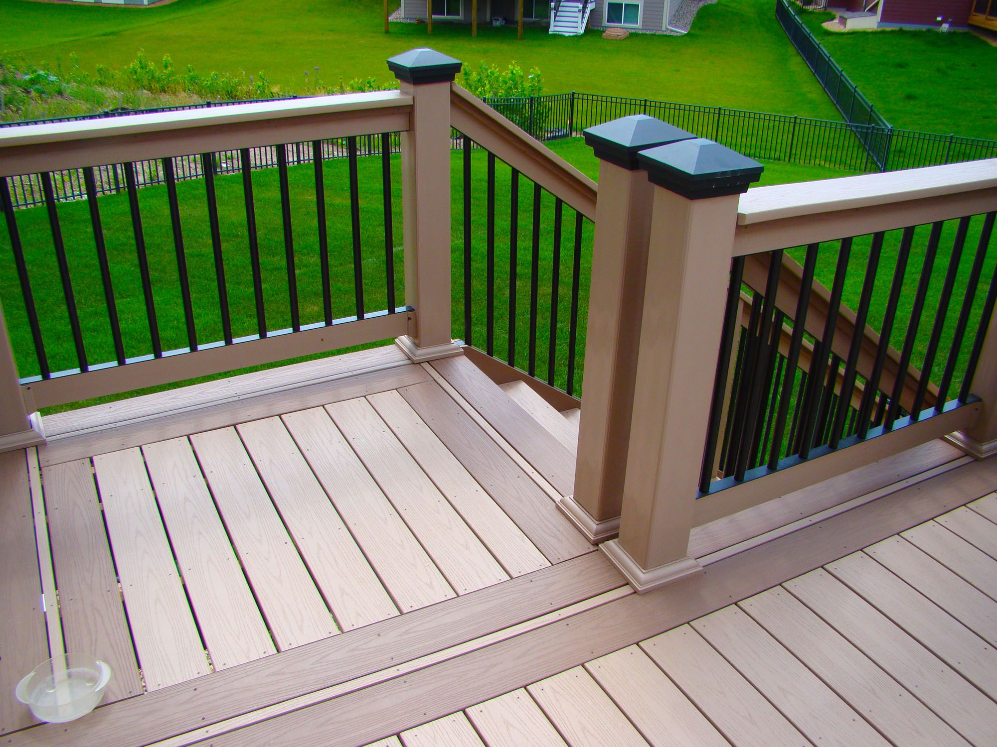 Decorative 4x4 Post Wraps Azekr Decking And Aluminum Railing With Azek Post Wraps Installed