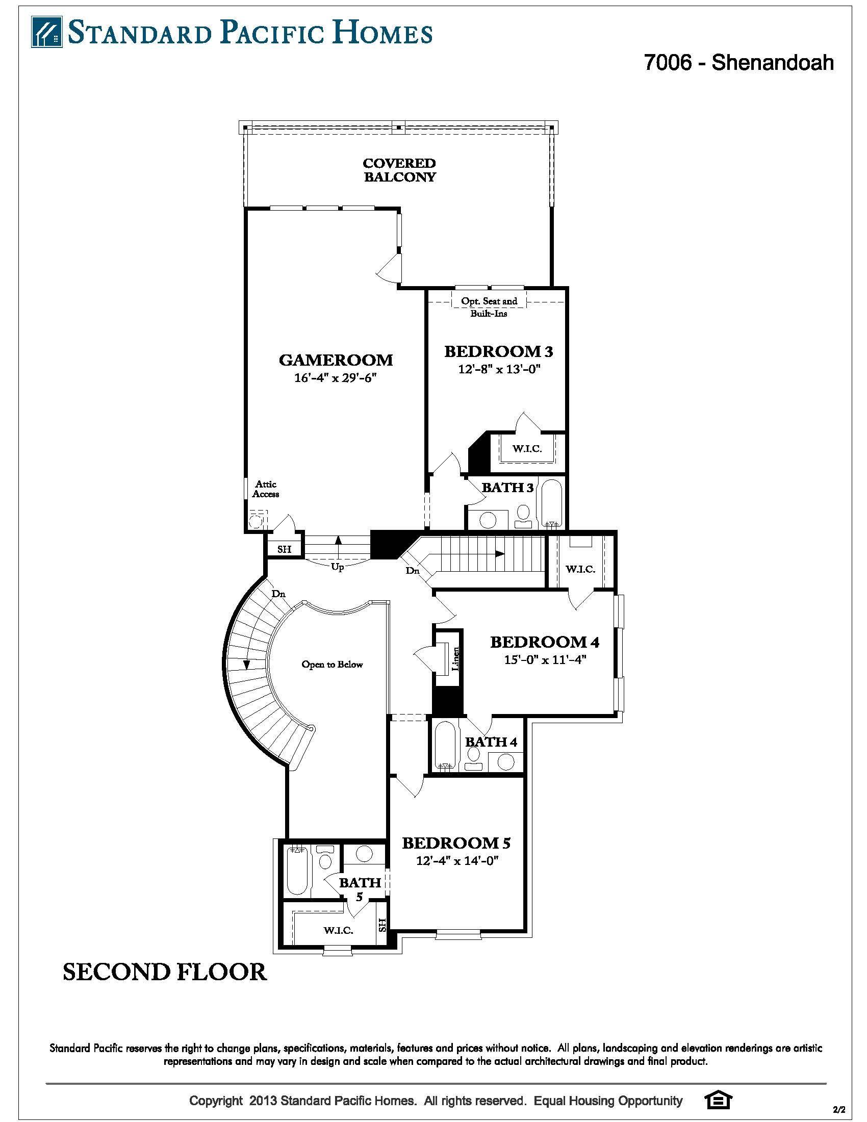standard pacific shenandoah 2d floor floor plans pinterest