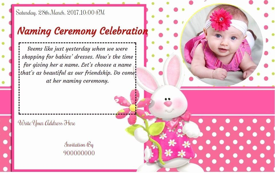 Baby Naming Ceremony Invitation Beautiful Free Baby Girl Naming Ceremony Invitation Card Line Naming Ceremony Invitation Invitation Template Cradle Ceremony