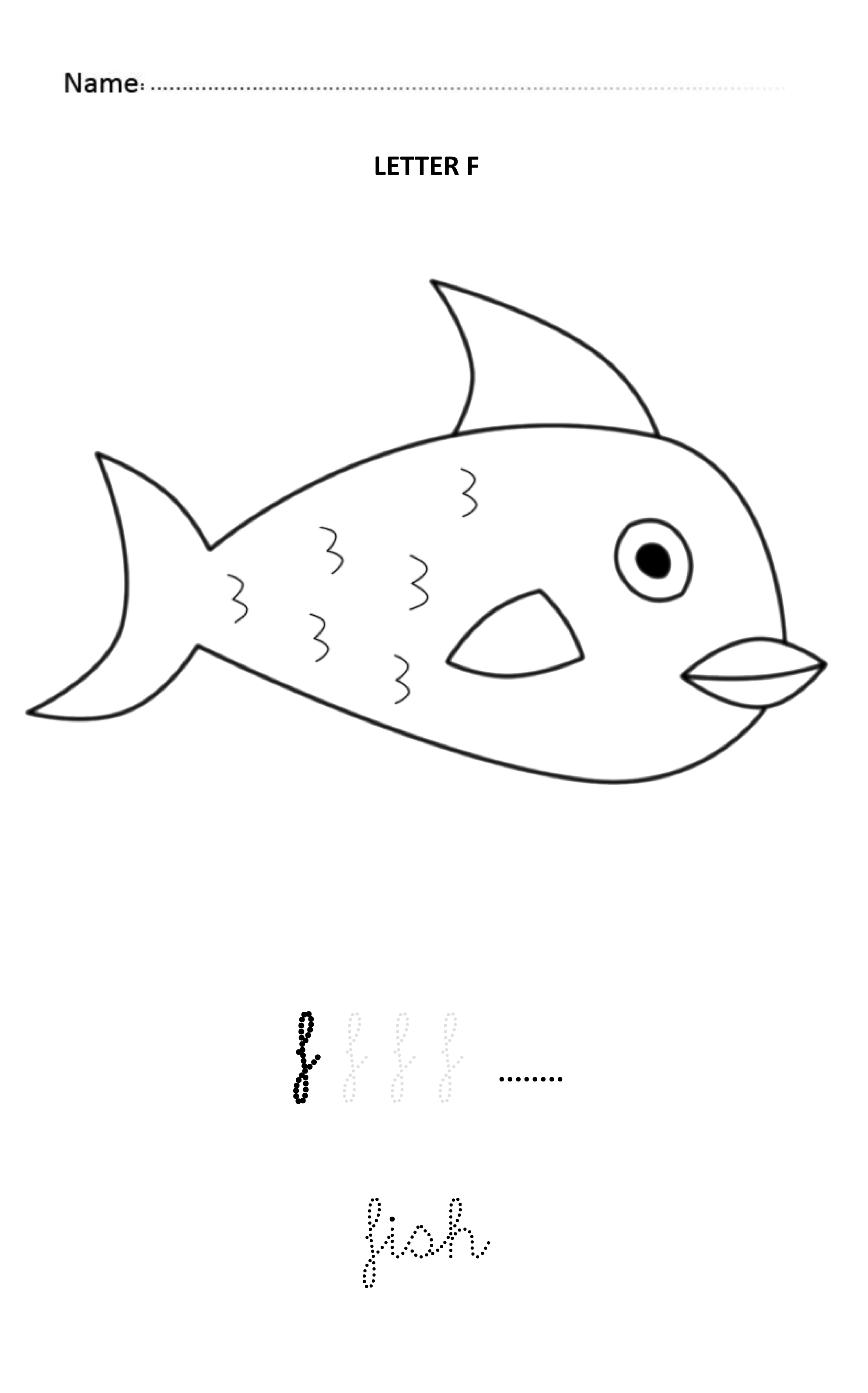 Letter F Easy And Visual Colouring Worksheet For Early
