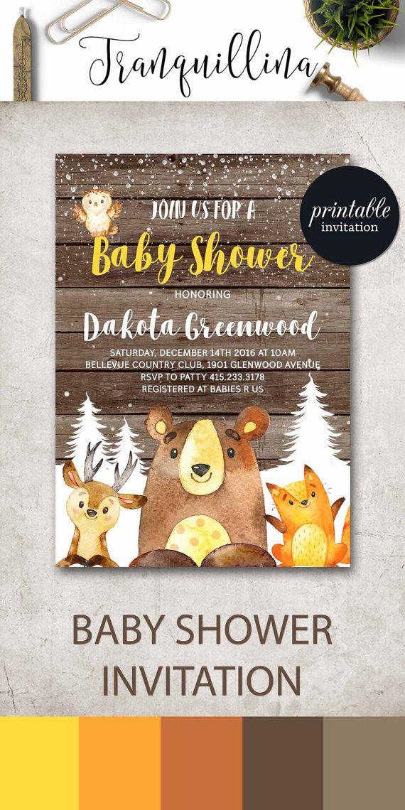 Woodland Baby Shower Invitation, Winter Wonderland Baby Shower ...