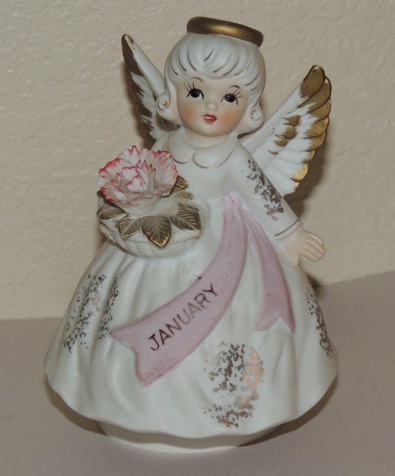 Lefton bisque January angel figurine