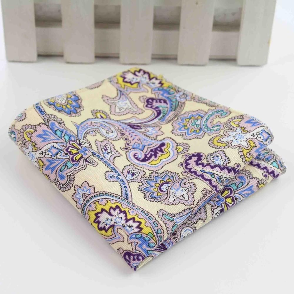 Men's Vintage Style Cotton Linen Handkerchief Floral Flower Rose Paisley Pocket Square 22*22cm Hankies Towel Casual
