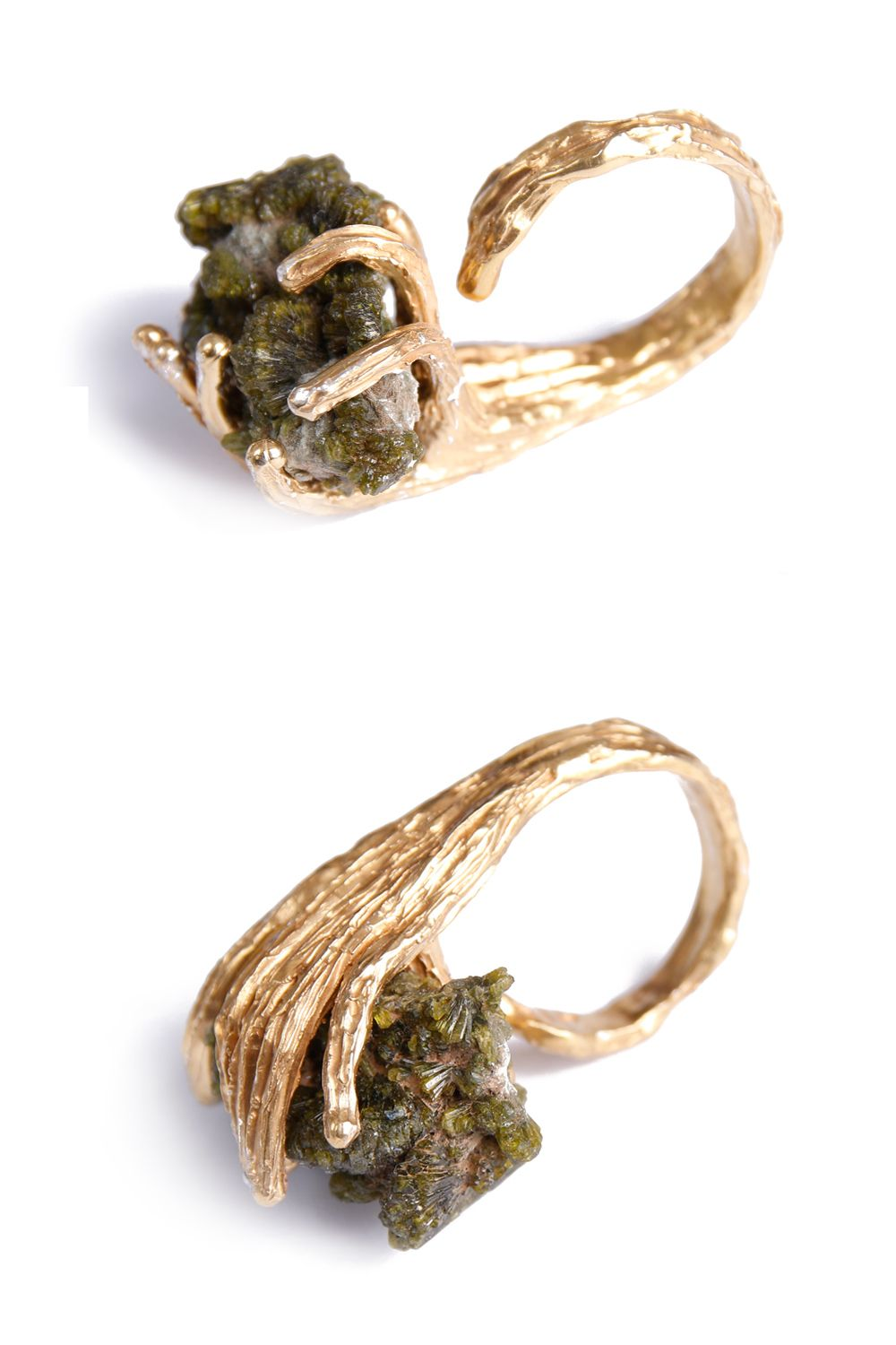 epidote crystal ring, silver and gold https://www.facebook.com/pinkmossjewelry