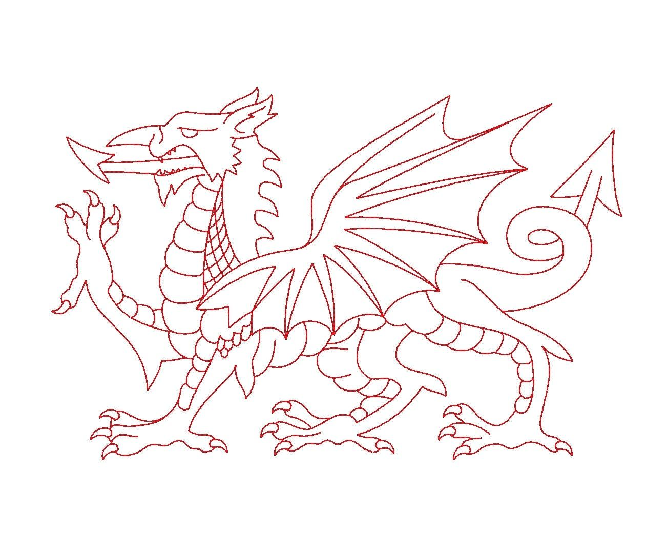 Welsh Dragon Redwork Outline Machine Embroidery Design Etsy Dragon Coloring Page Welsh Dragon Dragon Tattoo Outline