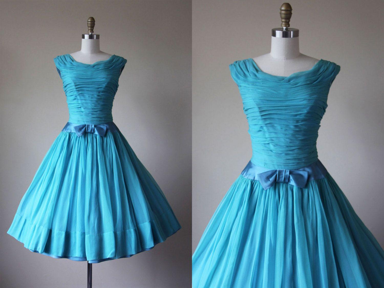 1950s Party Dress - Vintage 50s Dress - Pale Aqua Silk Chiffon ...