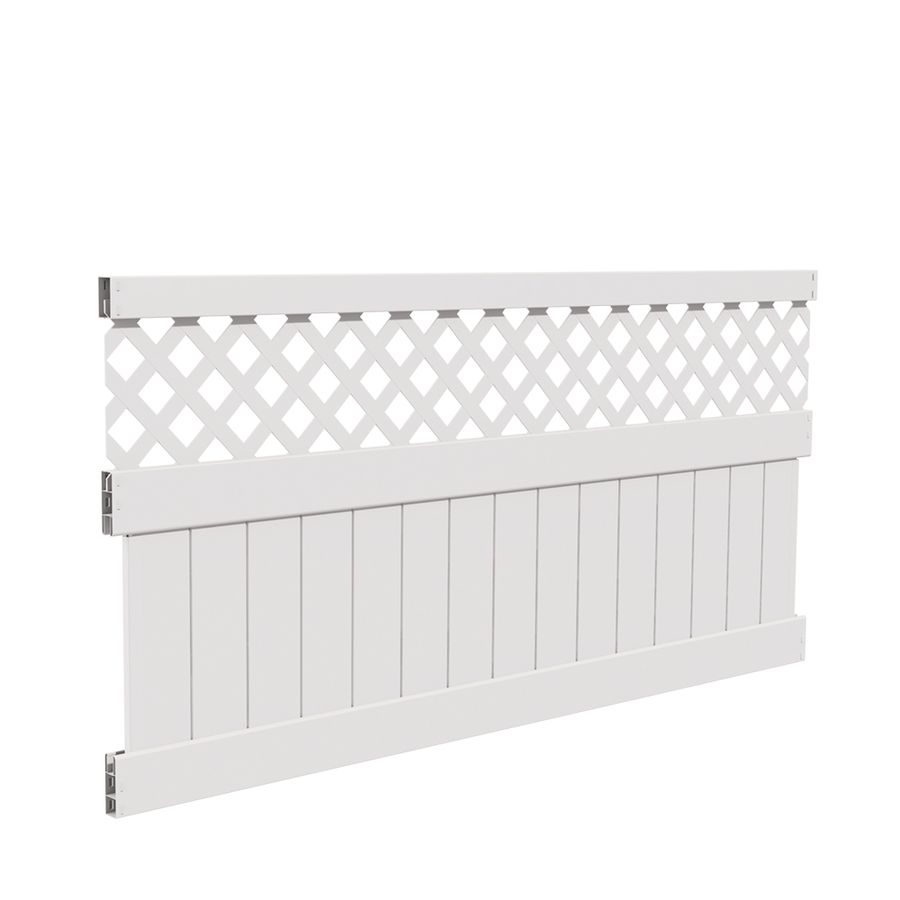 Freedom Ready To Assemble Conway 4 Ft H X 8 Ft W White Vinyl Lattice Top Fence Panel Lowes Com Vinyl Privacy Fence Privacy Fence Panels Fence Panels