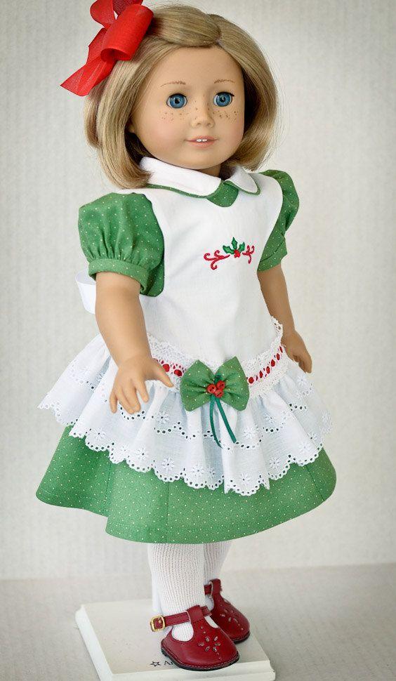 RESERVED Christmas Dress and Pinafore | Muñecas, Muñeca de 18 ...