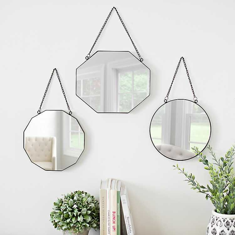 Metal Shapes Hanging Wall Mirrors Set, How To Hang 3 Round Mirrors