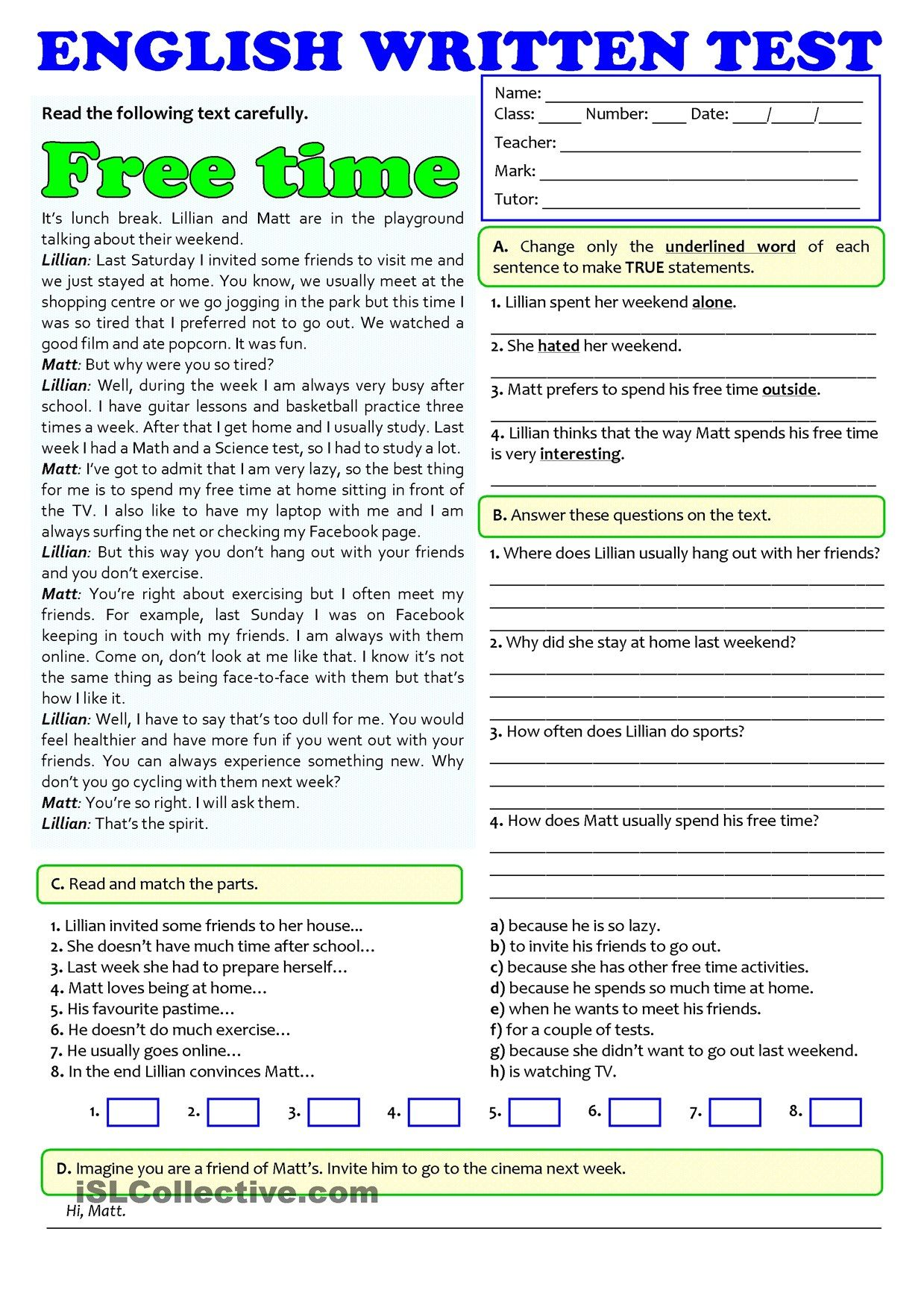 FREE TIME ACTIVITIES - TEST (A1-A2) | Exercises | Pinterest ...