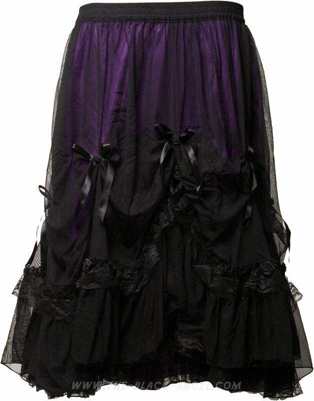Mid-length length gothic skirt by Sinister clothing, purple satin ...
