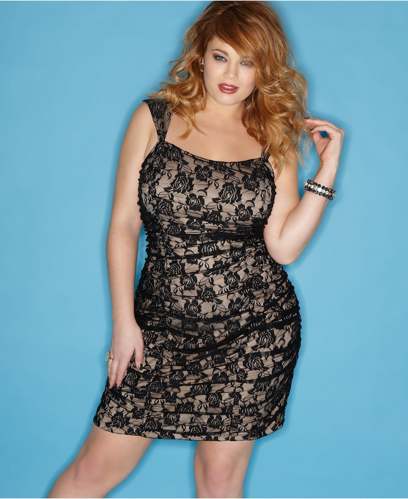 Ruby Rox Plus Size Dress Sleeveless Lace Ruched Plus Size Dresses