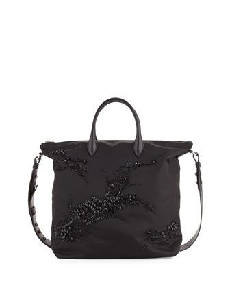 5a118273422c Large Nylon Beaded Tote Bag, Black (Nero) by Prada at Neiman Marcus.