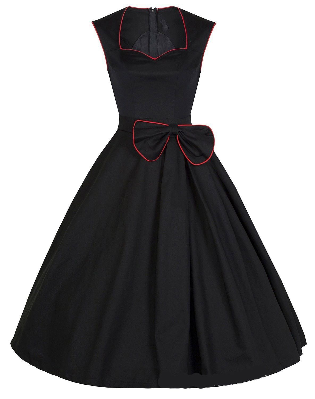 83c6f7aae88 Vintage Swing dresses 50s 60 style square collar Women Retro Casual bow Party  Rockabilly Dress plus size Vestidos Femininos Alternative Measures