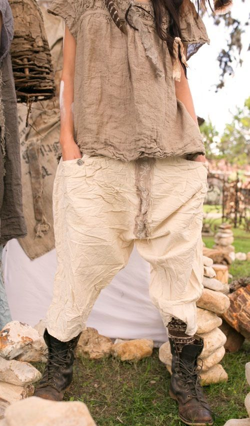 French Flex Cotton Emy Pants with Full-Length Front Pocket & Cross-Stitch in Natural Cotton