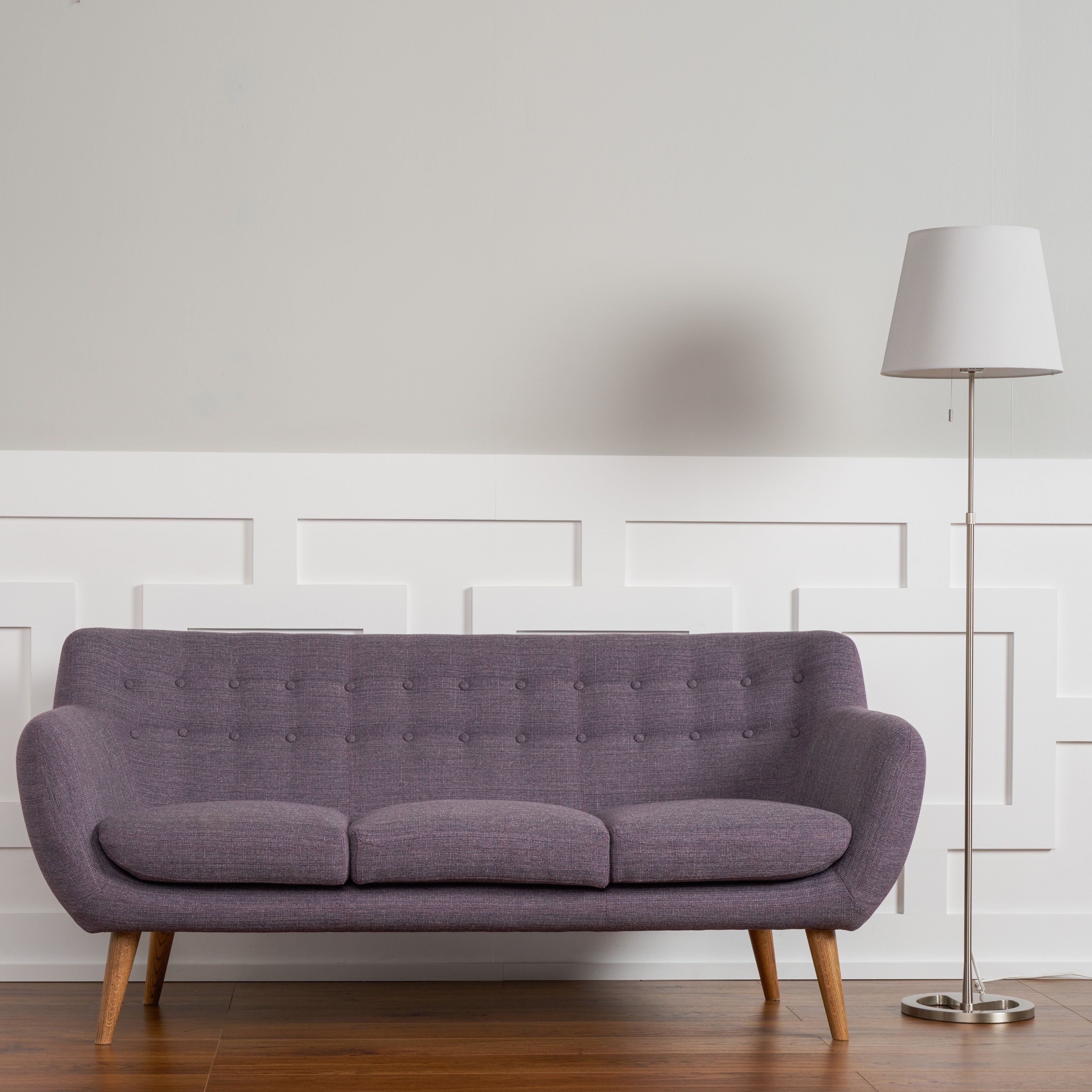 Rhodes Mid-Century Modern Tufted Sofa In Venga Purple By RST