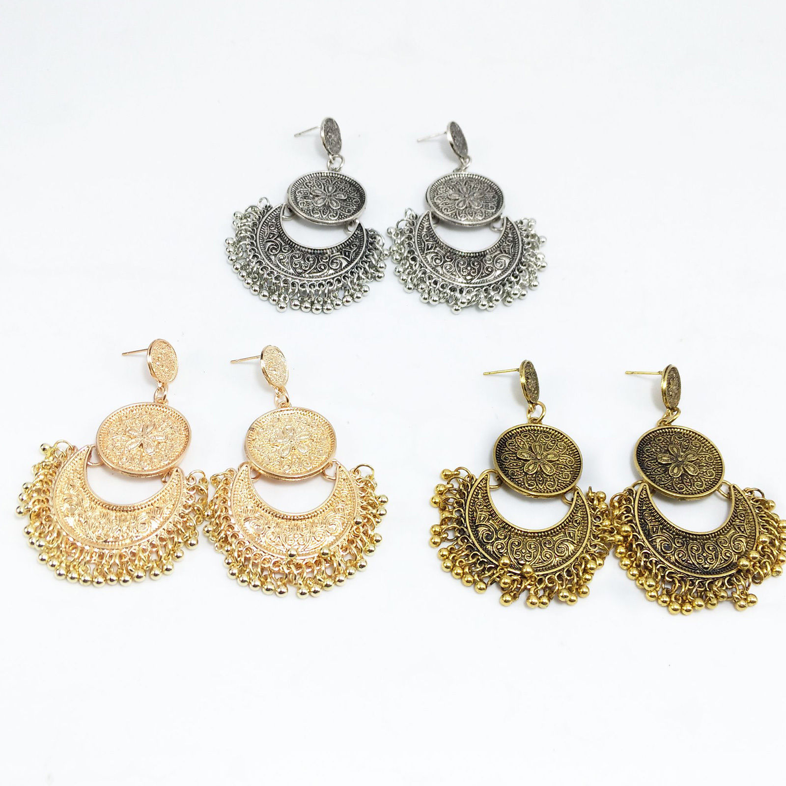 Classic Antique Silver Gold Vintage Tassel Moon Drop Earring Gypsy Indian Jewely