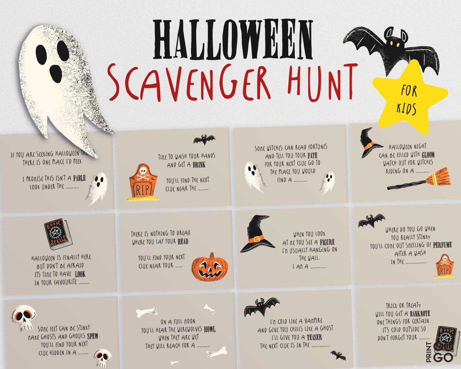 Halloween Scavenger Hunt Game for Kids Halloween Game for